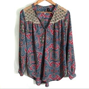 BKE Boutique Paisley Blouse | Size Small